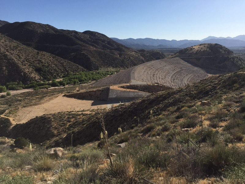 The Mojave River Dam. No water; it is for flood control only.