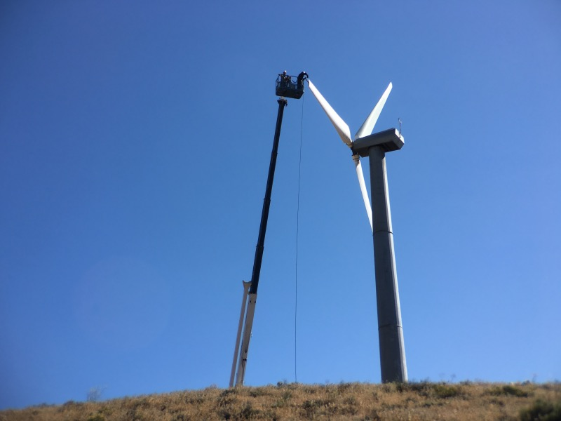 Wind turbine maintenance.