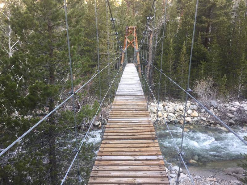 The suspension bridge at Woods Creek.