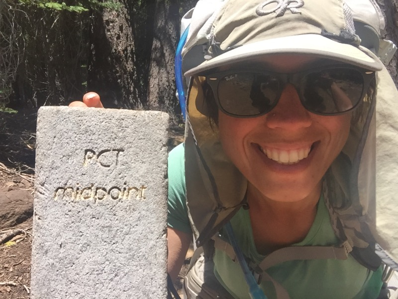 About 8 miles before Highway 36, we reached the halfway marker! It's located at Mile 1320.7. According to more recent measurements, the true midpoint of the PCT is about 4 miles past this marker. Either way, we passed the midpoint!