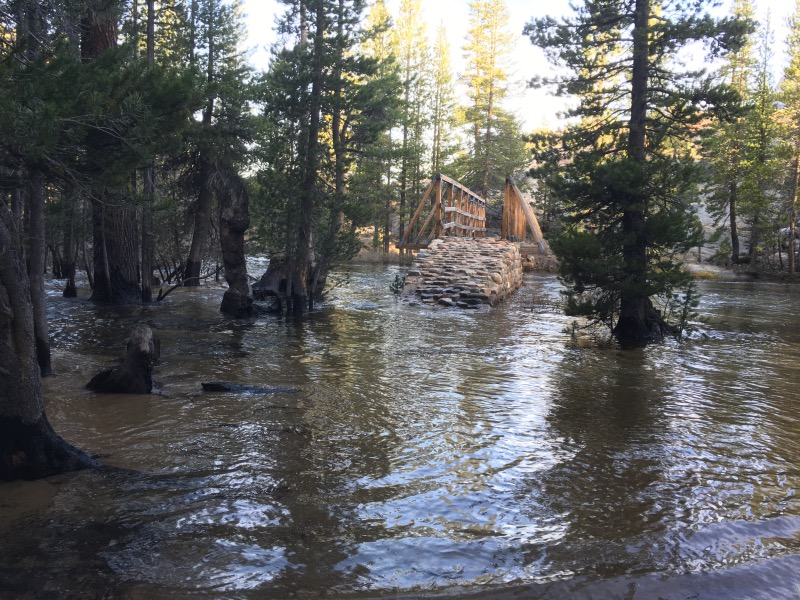 The bridge leaving Glen Aulin. Had to take our boots off and ford this before getting back on the PCT.