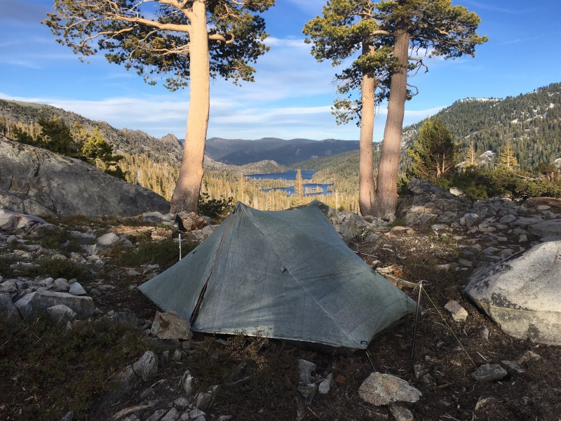 Camped with a view of Echo Lakes.