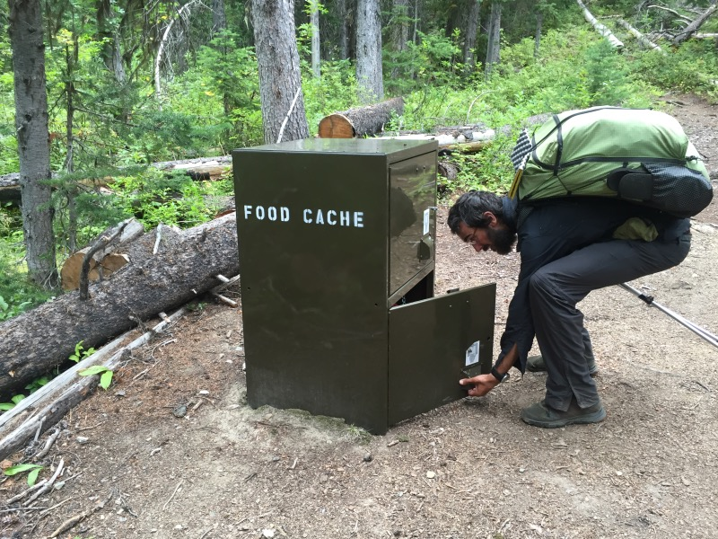 The bear boxes in Canada are called Food Caches.  Rob checked each one for food.