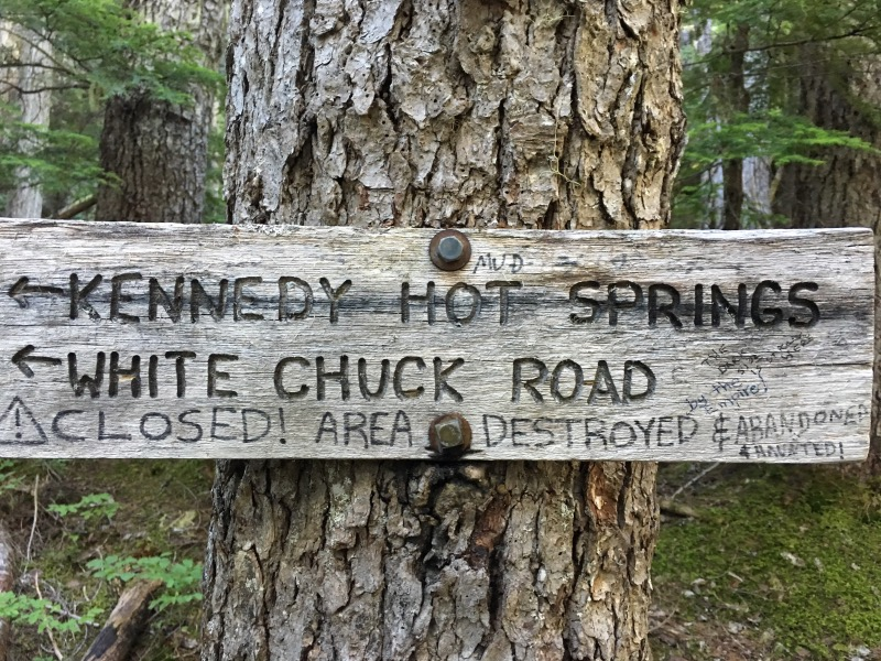 We were tempted to check out Kennedy Hot Springs when we saw it on the map, but it's destroyed and abandoned... and haunted (according to the sign). The same flood event that took out the bridge and scoured the hillside buried the hot spring.