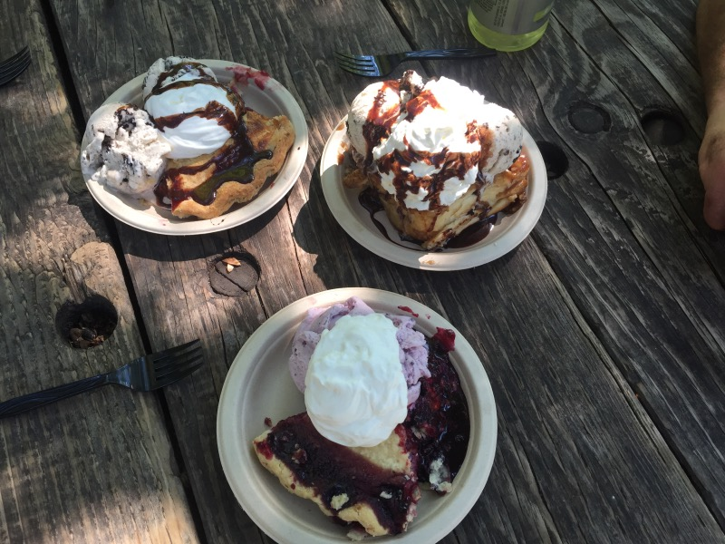 Pie slices and a cinnamon roll, all with ice cream and whipped cream.